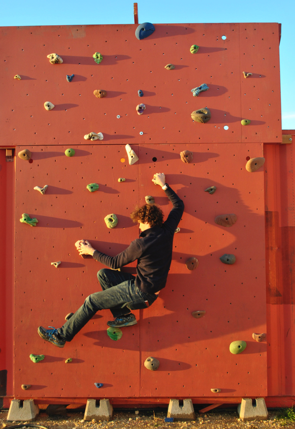 Jack on the rock wall in evening light