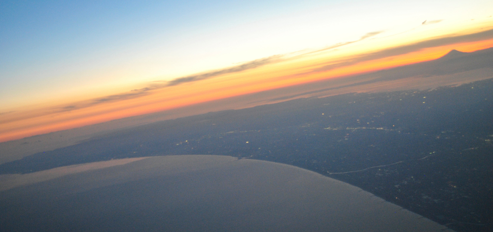 Mr. Fuji at Sunset, from the plane