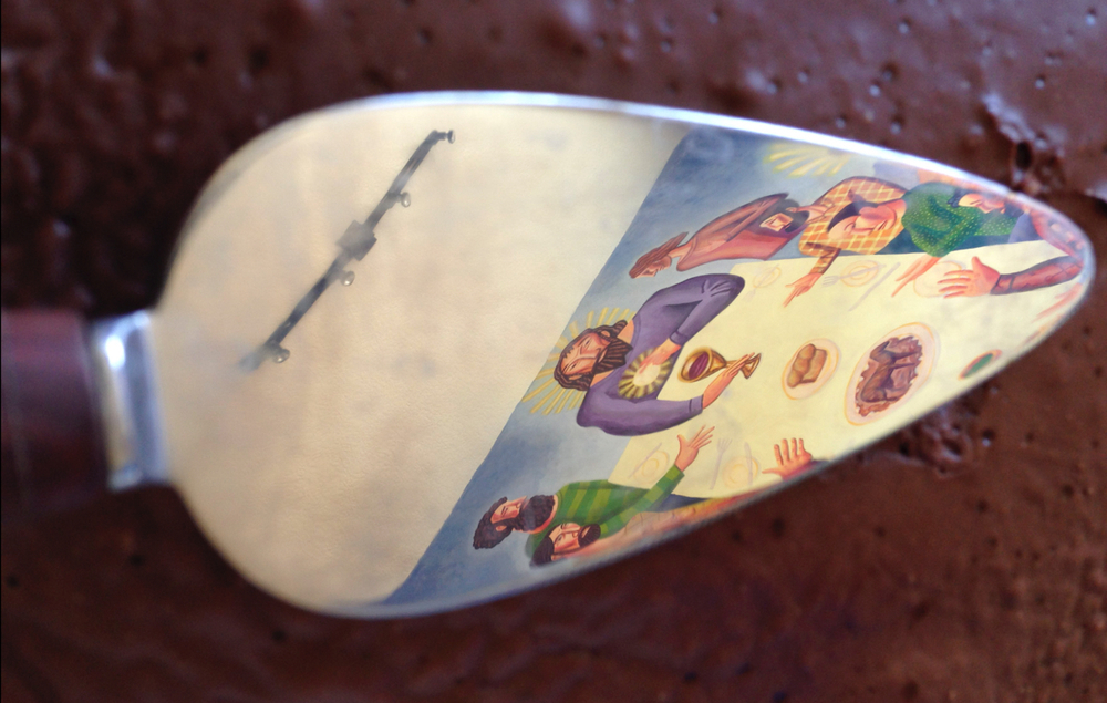 Jim's mural reflected in a cake server.
