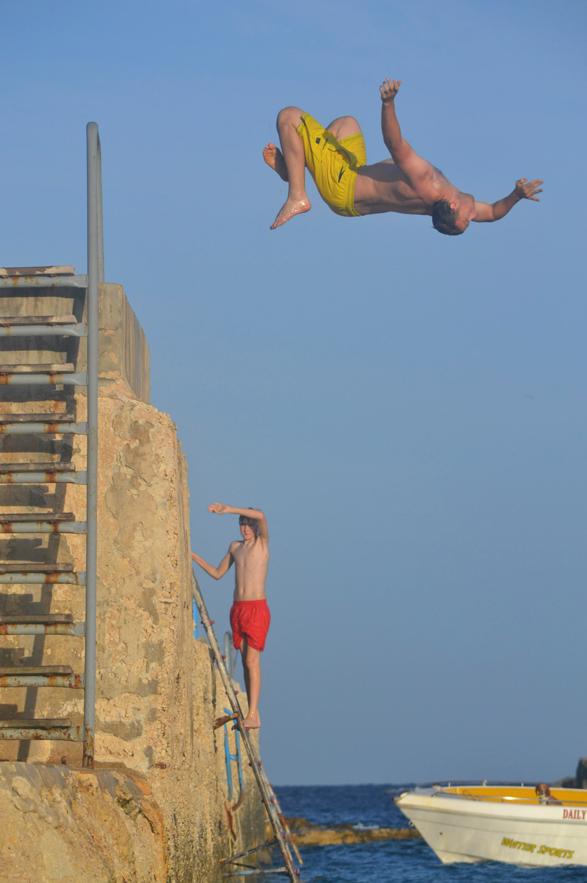 Noah back flip, Hondoq Bay, Gozo, Malta