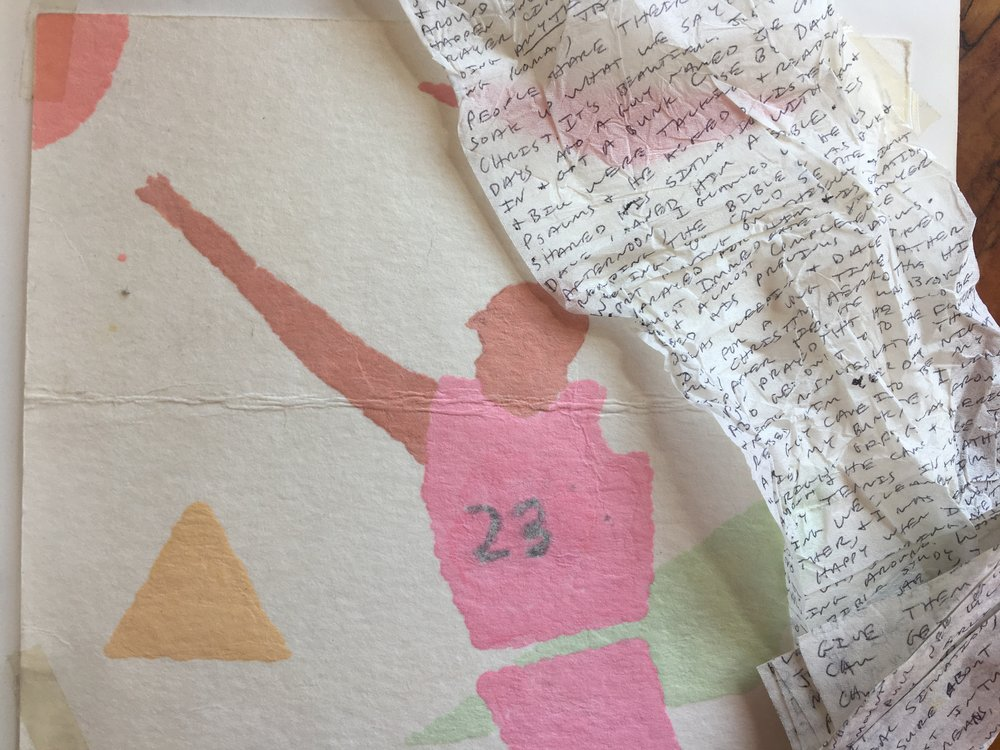 A toilet paper letter and a painting of Michael Jordan with Triangles sent from the Del Valle Correctional Facility, Summer 1989