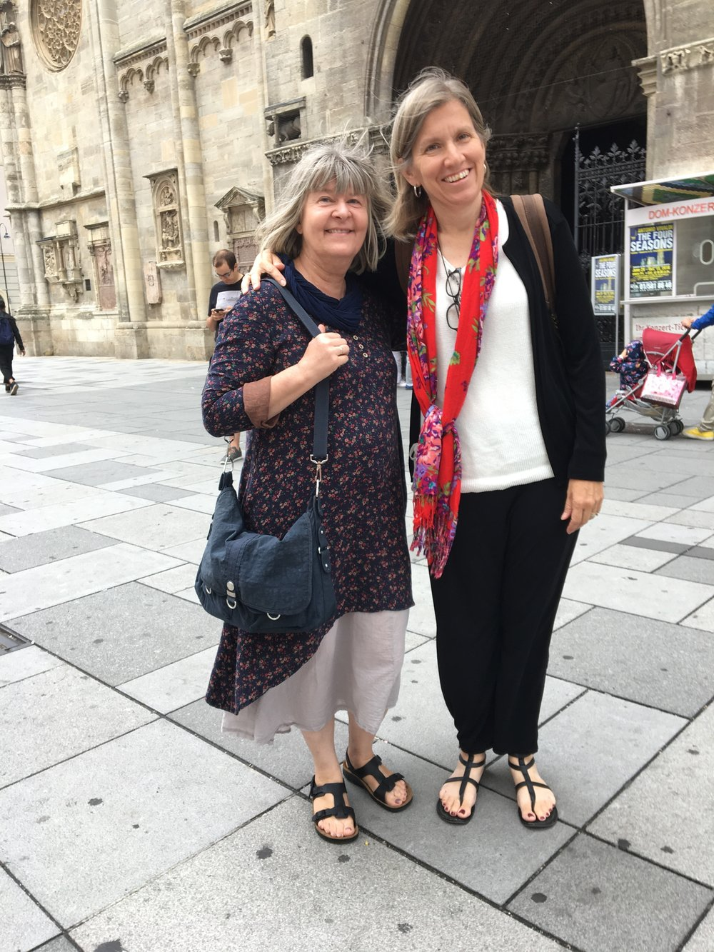 My dear friends Gaby and Caroline in front of St. Stephen's Cathedral. A true friend is one of the purest joys of this life.
