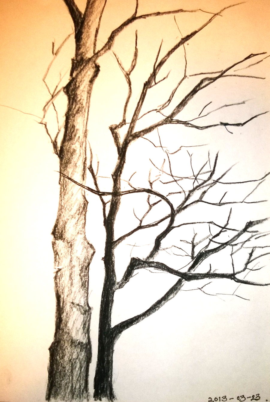 [SOLD] Pair Tree, 11.5 x 8 inches