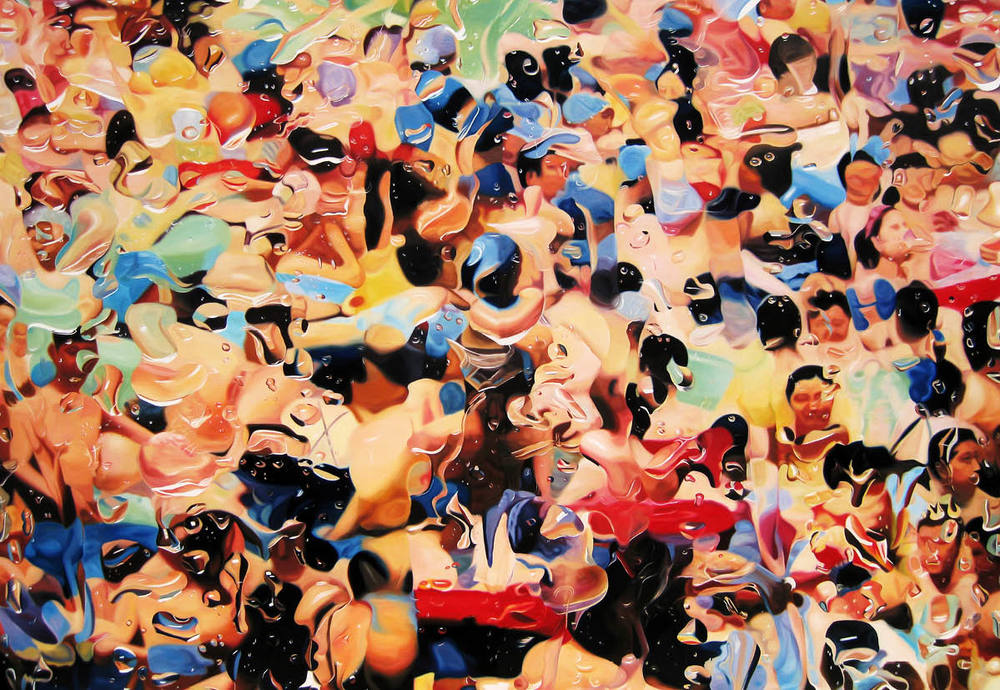 Overwhelming Desire by Xihui CAO. Painted in Dalian, China, 2009. Oil on canvas, 87x126 inches.