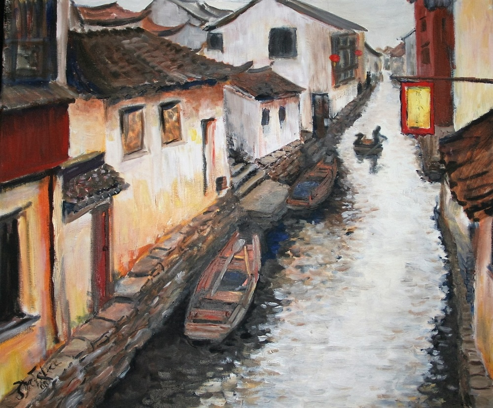 Jill De Felice, USA. Zhouzhuang Waterway, Guangzhou, China, 2008. Oil on Canvas. 51x51 cm, 20x20 in.