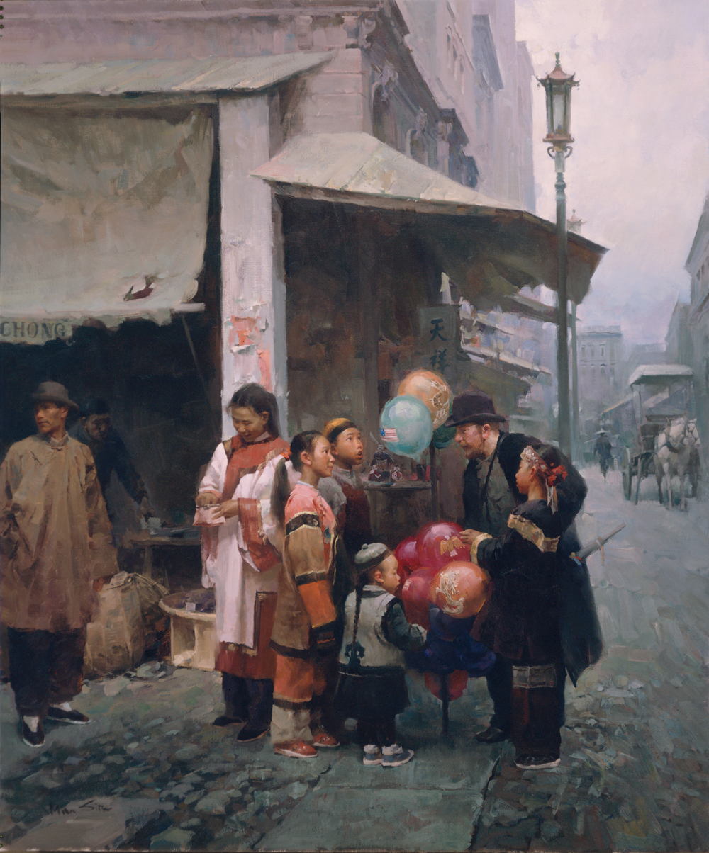 Balloon Man in San Francisco, California, 1904. Oil on Canvas, 38 x 32 inches.