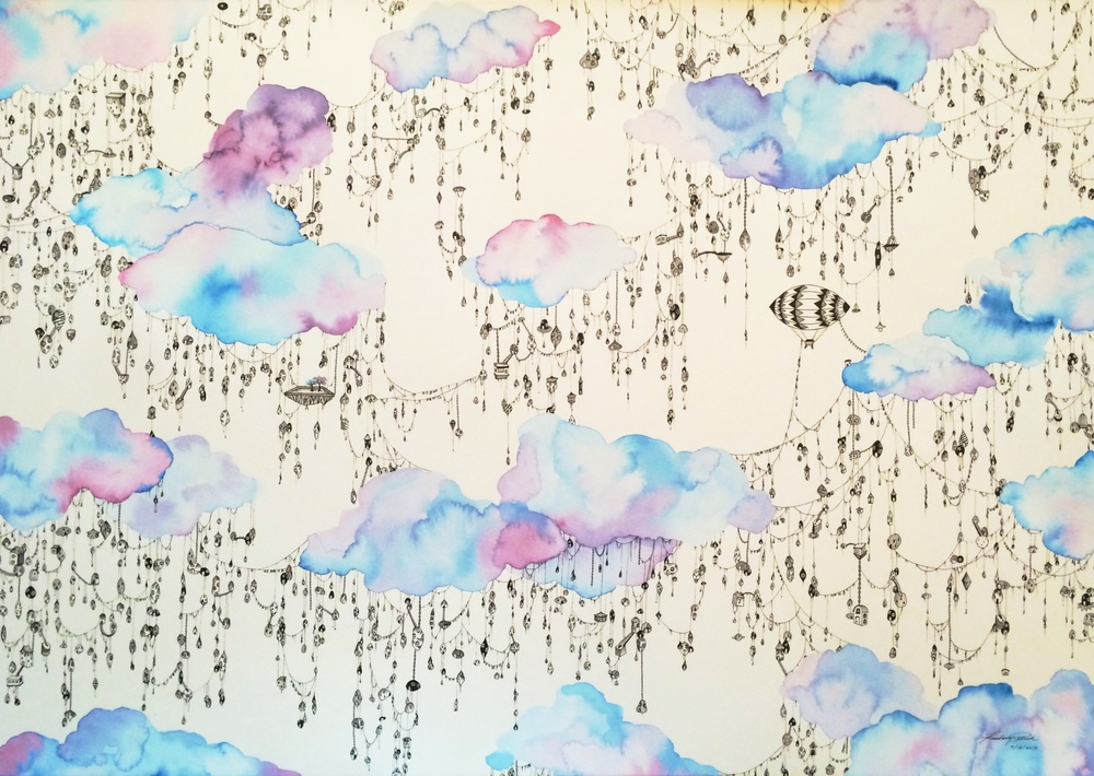 Community: City in the Clouds, 2015. Watercolor and Ink on Watercolor board, 20 x 30 inches.