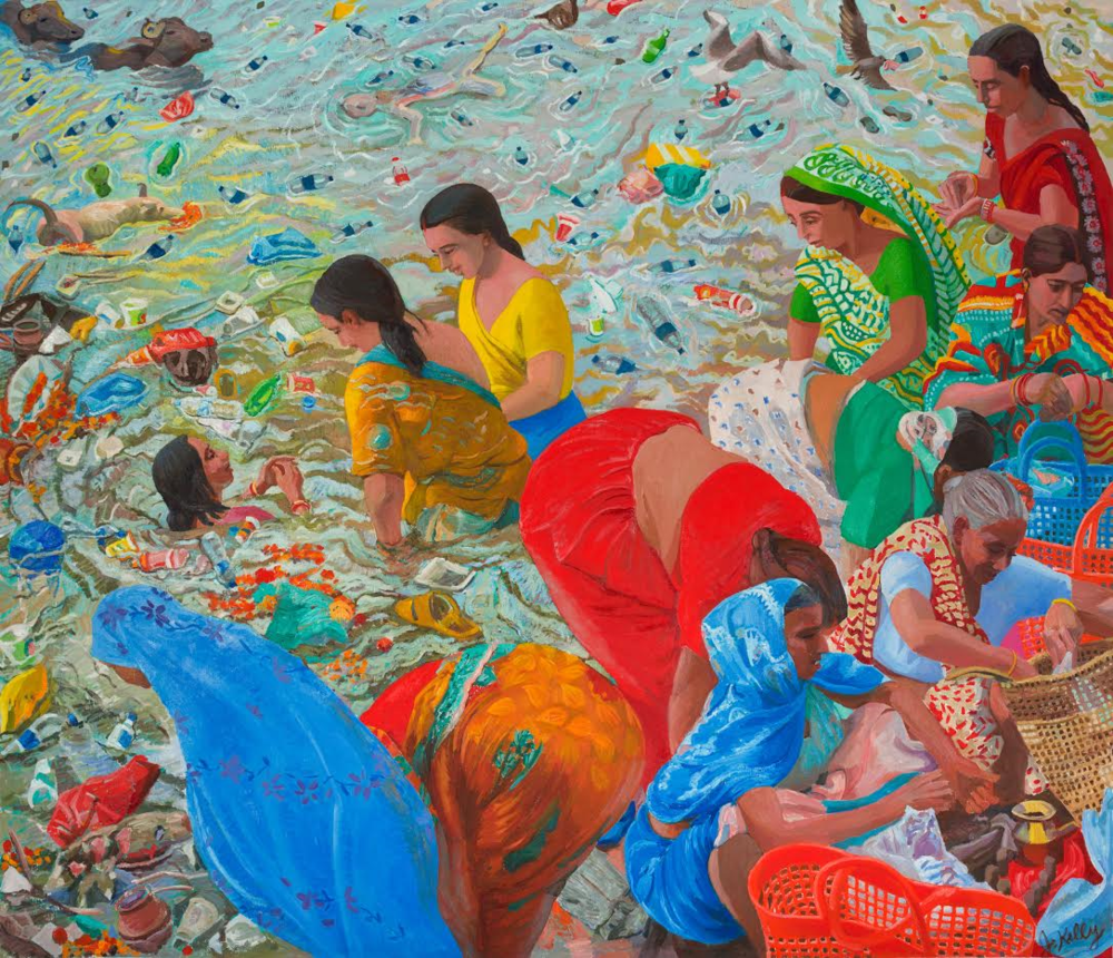 Joan Kelly, Singapore. What have we done: Women Making Puja's in the Ganges, 2016.