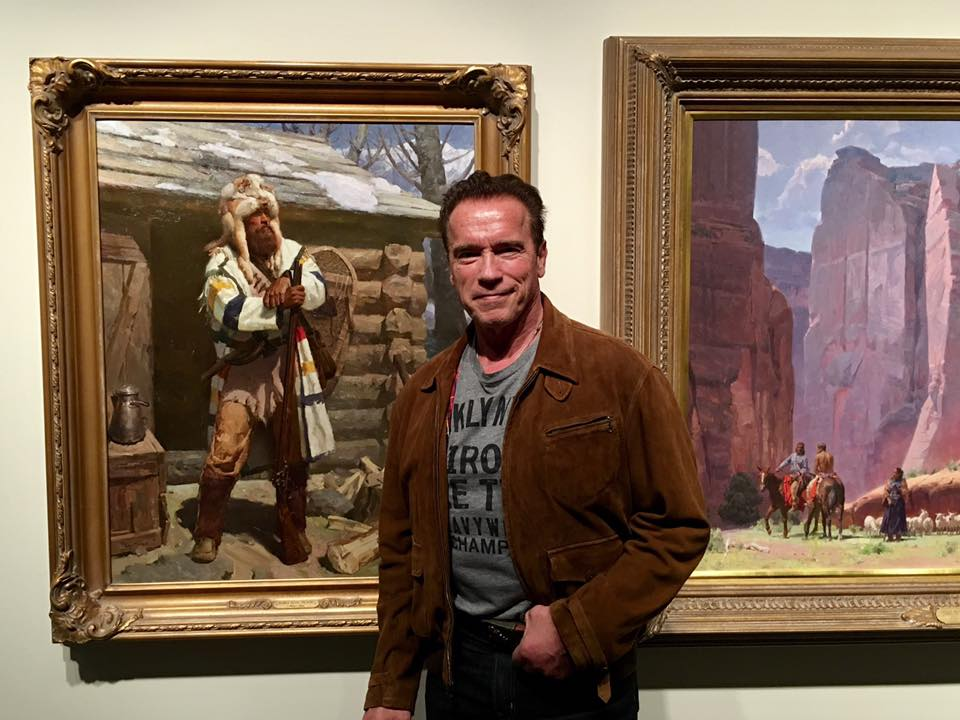 Photo courtesy of  The Autry : Arnold Schwarzenegger standing in front of Mian Situ's artwork.
