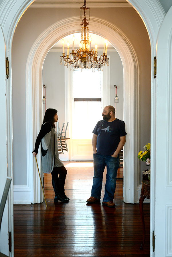 Kris and J. Yu Planning for May at The Mansion - Photo by Mandee K. Hammerstein
