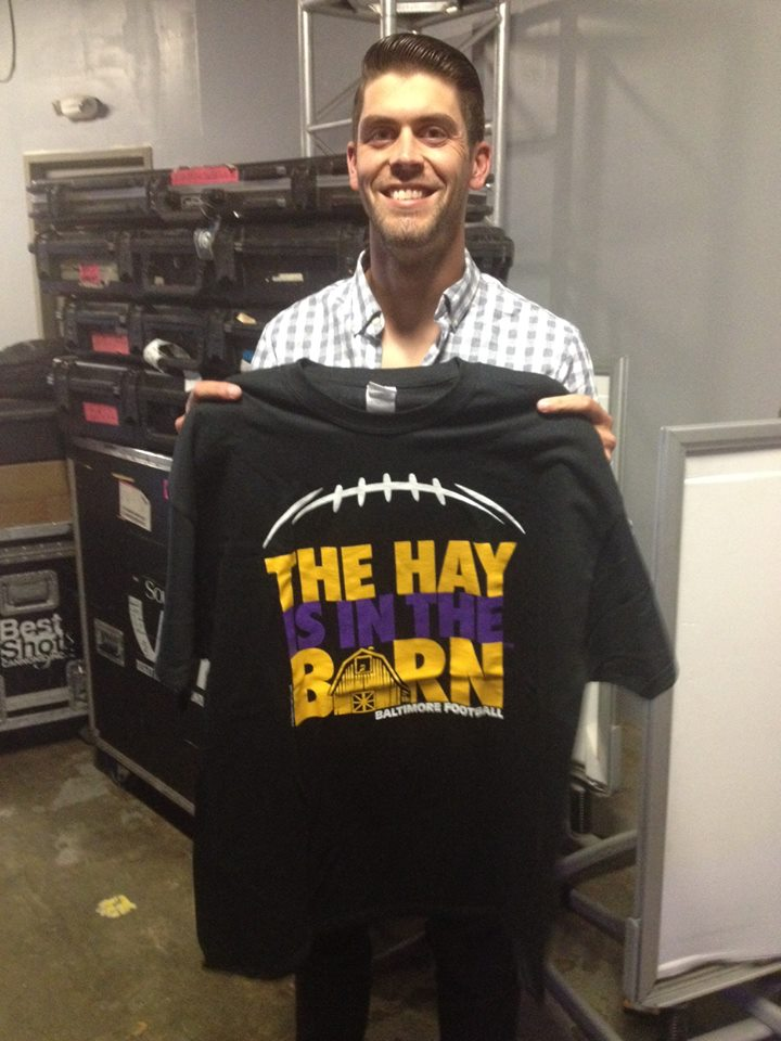 "Raven's kicker, Justin Tucker, sporting his new ""The Hay is in the Barn"" shirt!"
