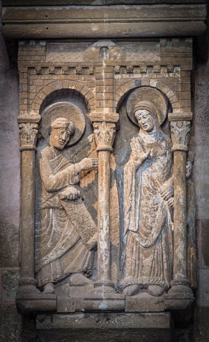 Annunciation panel, Basilique Sainte Foy, Conques (Aveyron). Photo by Dennis Aubrey