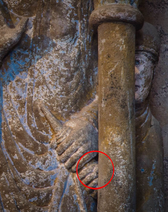 Hand detail, Annunciation panel, Basilique Sainte Foy, Conques (Aveyron). Photo by Dennis Aubrey.