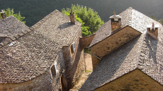 "A view of Saint-Véran's roofs made with ""lauzes"""