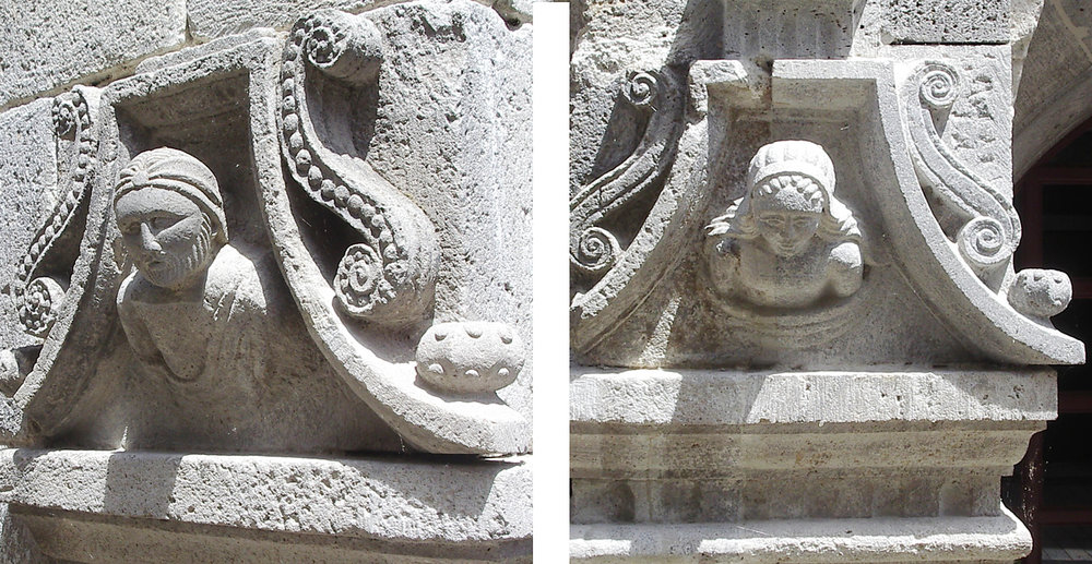 Details of sculptures found on a house; a male (left) and a female (right)