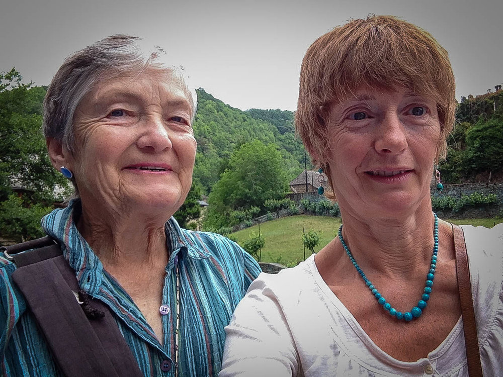 "Wendy and Véronique taking a ""selfie"" in Aveyron"
