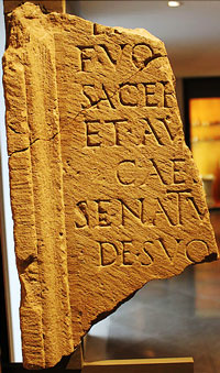 Roman inscription found in Rodez, now at the Musée Fenaille (Rodez)