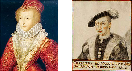 Left: Marguerite de Valois | Right: Charles d'Alençon, who became Charles de Valois