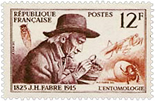A French post office stamp representing Jean-Henri Fabre