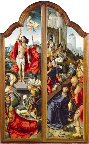 Triptych panels of the Château de Sévérac as oil painting on wood. Painted by a Flemish master during the 16th century (1530). The Carrying of the Cross and the Resurrection.