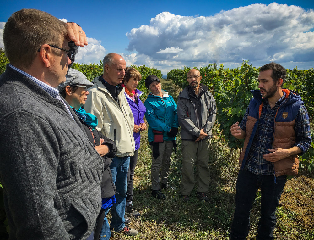 """Clément Debord, owner of the winery/vineyard the """"Domaine de la Petite Tuile"""" explains his work to (left to right)Dan, Laura, Ernie, Debbie, Nadine and Jack. Multiple wineries visits and wine tastings were scheduled on that day."""