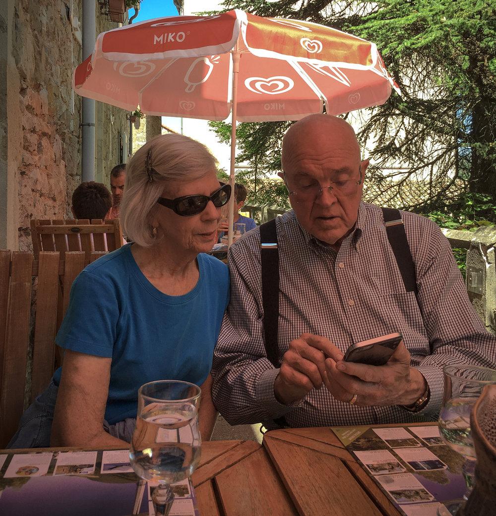 Diane and Richard having lunch at a Roquefort-sur-Soulzon restaurant.