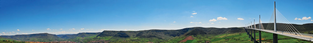 The Millau Viaduct (tallest cable-stayed bridge in the world)going from one plateau to the other.