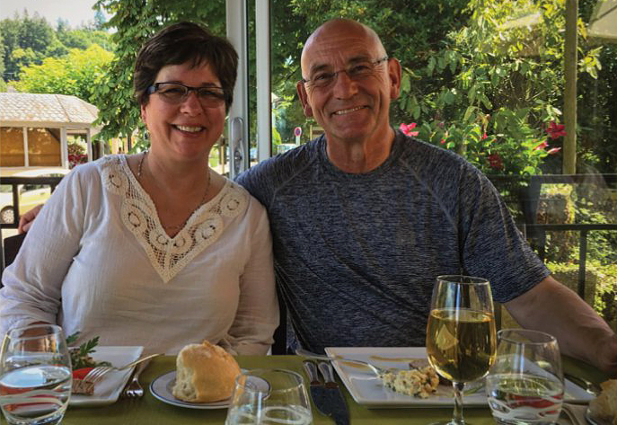 Norma and Bill Webb enjoying times at Rieupeyroux's restaurant.