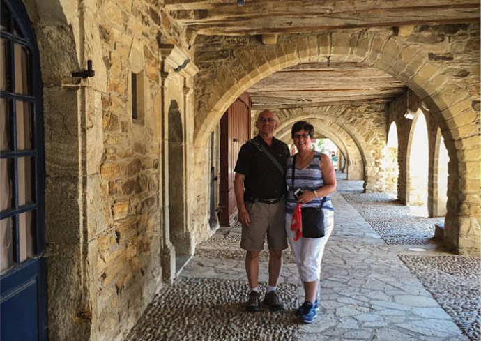 Bill and Norma Webb visiting Sauveterre-de-Rouergue.