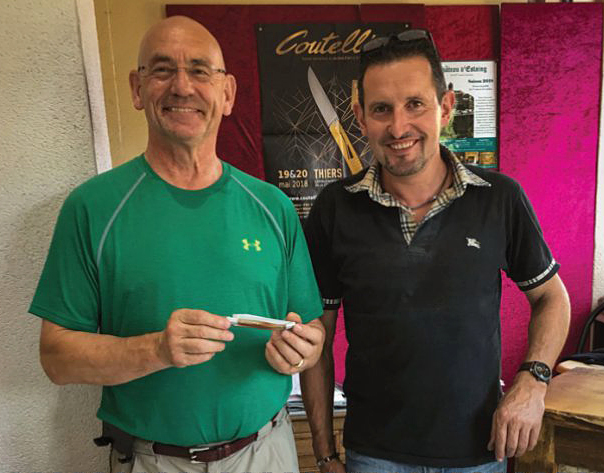 Bill is quite proud to show the Laguiole knife he made in Aveyron with Christophe's support.
