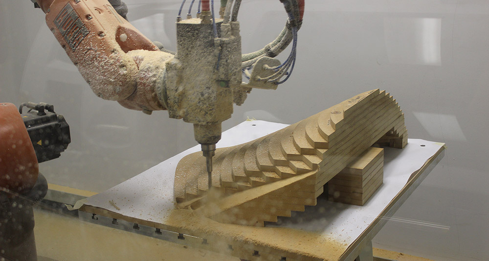 Parts of the timber mould was robotically milled from laminated 19mm sheets of MDF. This is one of 5 parts that make up the central double curvature part of the mould. Milled at RMIT.