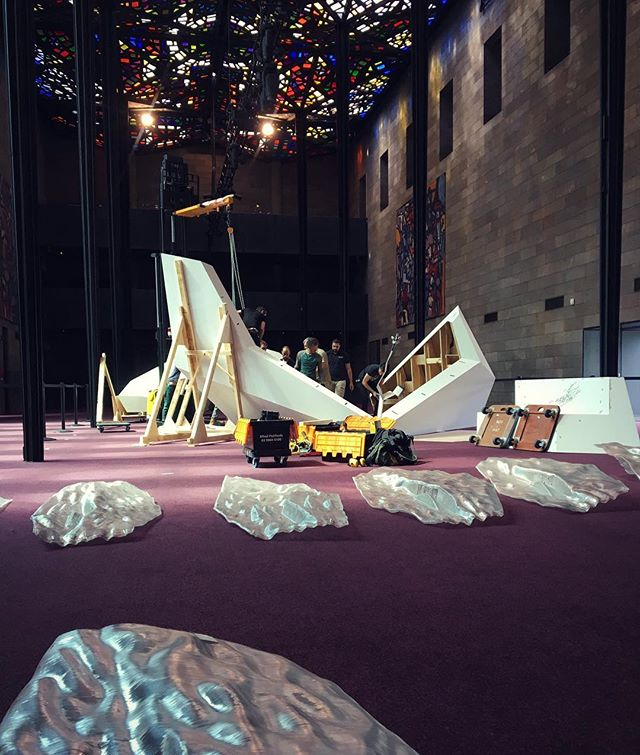 Floe pavilion being installed onsite in the Great Hall of the NGV. #studiorolandsnooks #rmitarchitecture #ngv