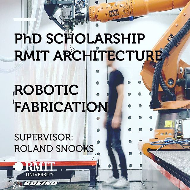 Two fully funded PhD scholarships (computation and robotics) are open for applications at RMIT Architecture.  link in bio and more details below:  Two PhD scholarships are available for candidates to undertake research in generative design and the fabrication of complex geometries, with a focus on computational design or robotic fabrication, as part of the RMIT Boeing Research Alliance.