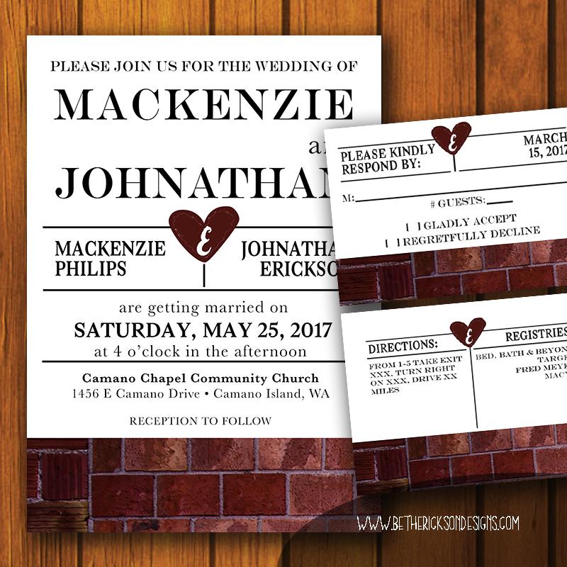 Industrial Brick Wedding Invitation Set