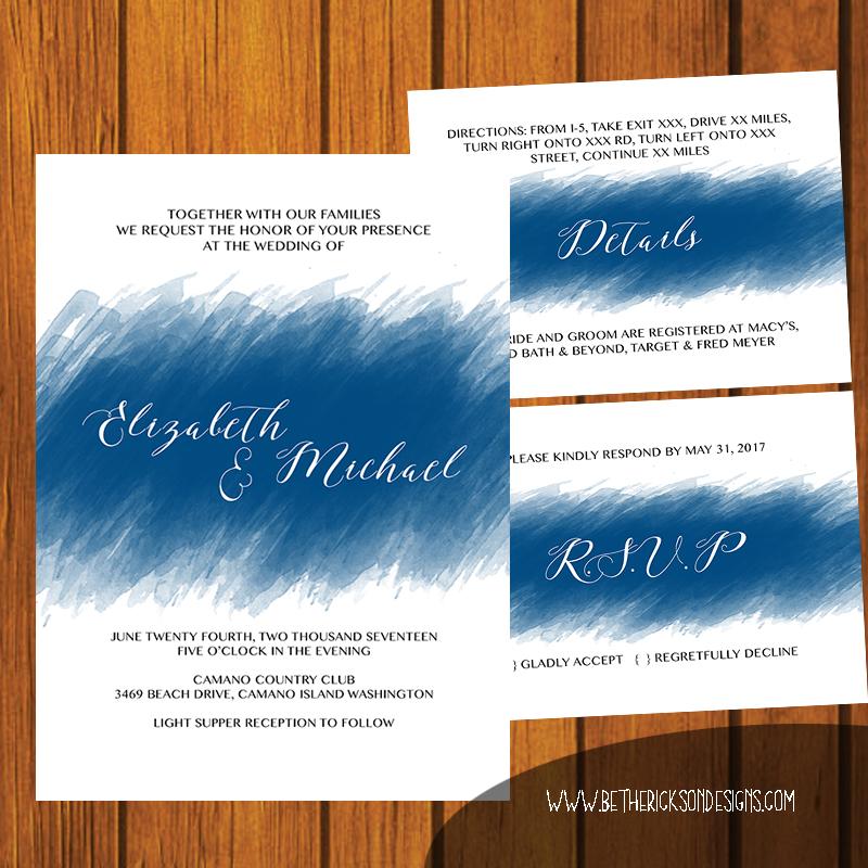 Blue Brushstroke Wedding Invitation