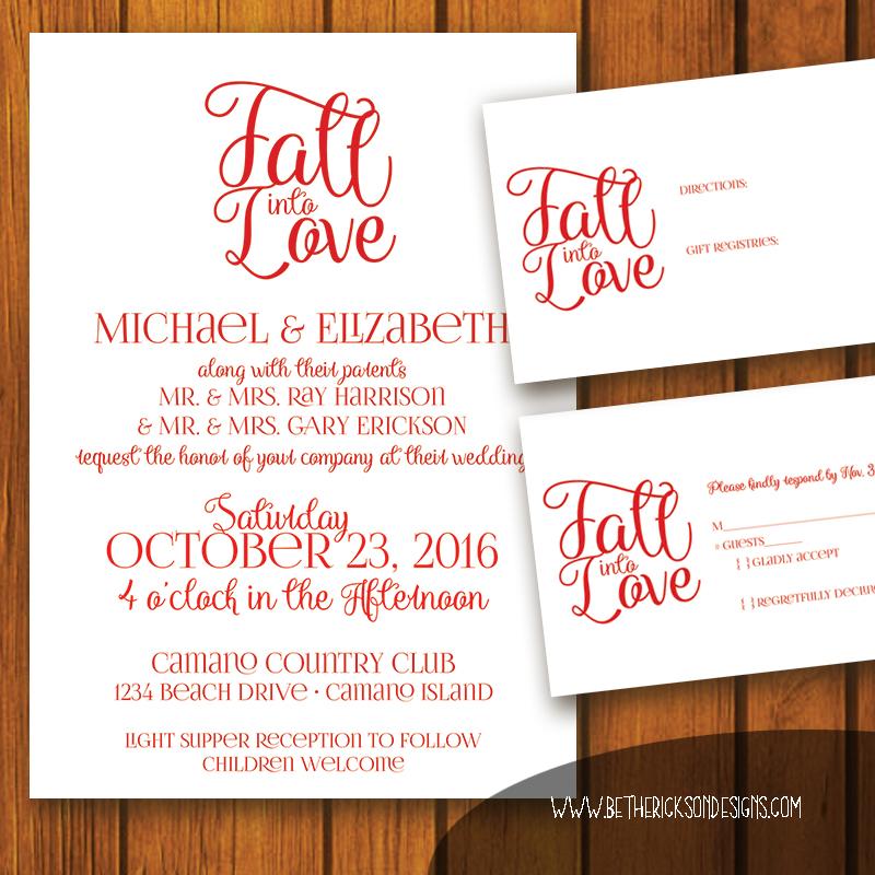 Fall Into Love Wedding Invitiaton