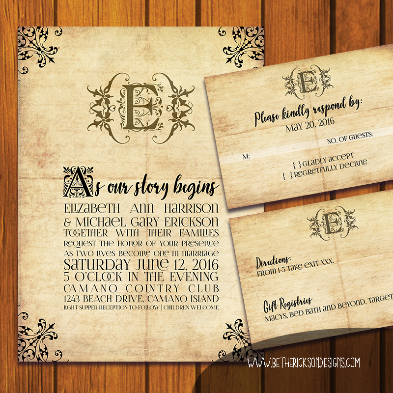 Mongrammed Fairytale Wedding Invitation