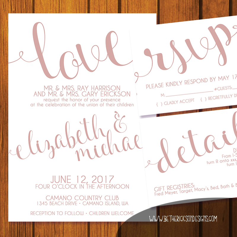 Love Champagne Wedding Invitation