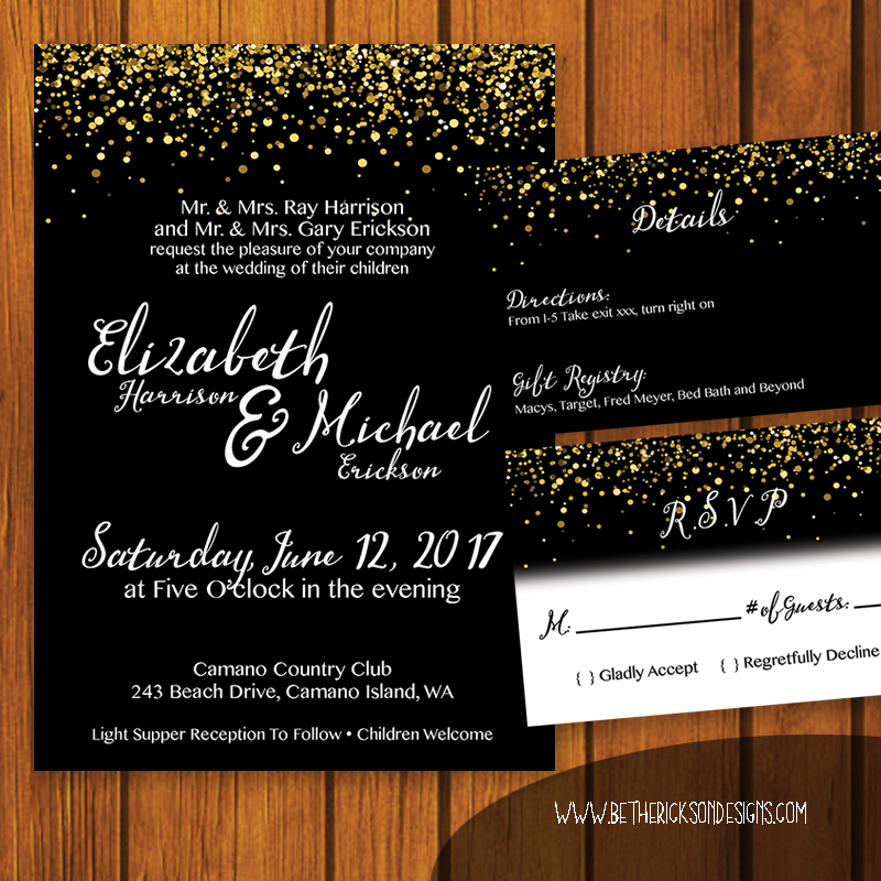 Black and Gold Glitter Wedding Invitation