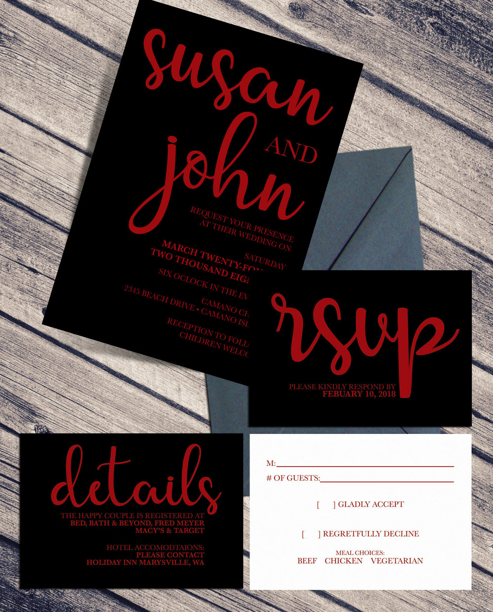 Black and Red BOLD Wedding Invitaition