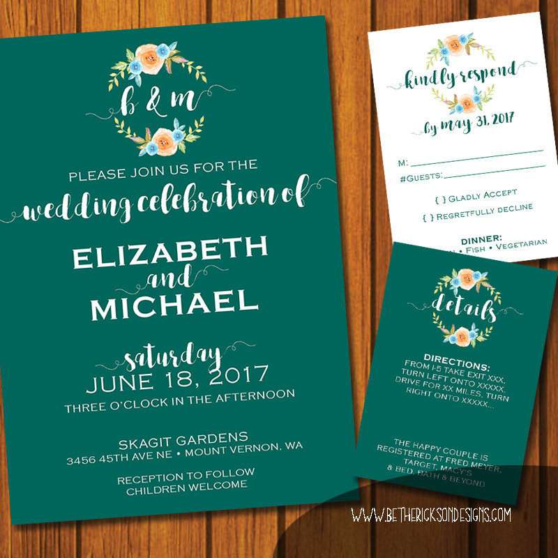 Turquoise Floral Monogrammed Wedding Invititaiton