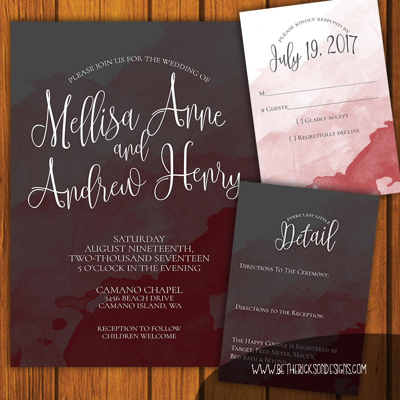 Maroon and Gray Watercolor Wedding Invitation
