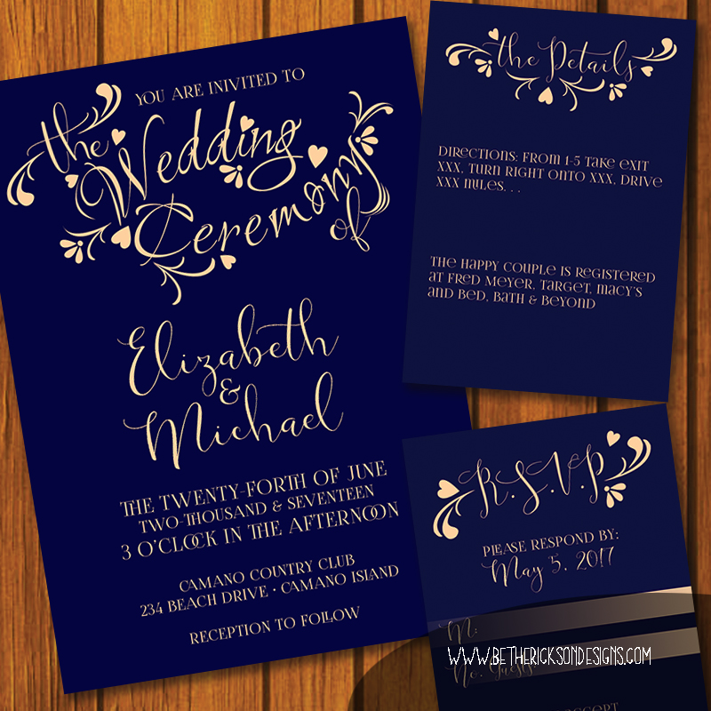 Navy and Peach Wedding Invitation