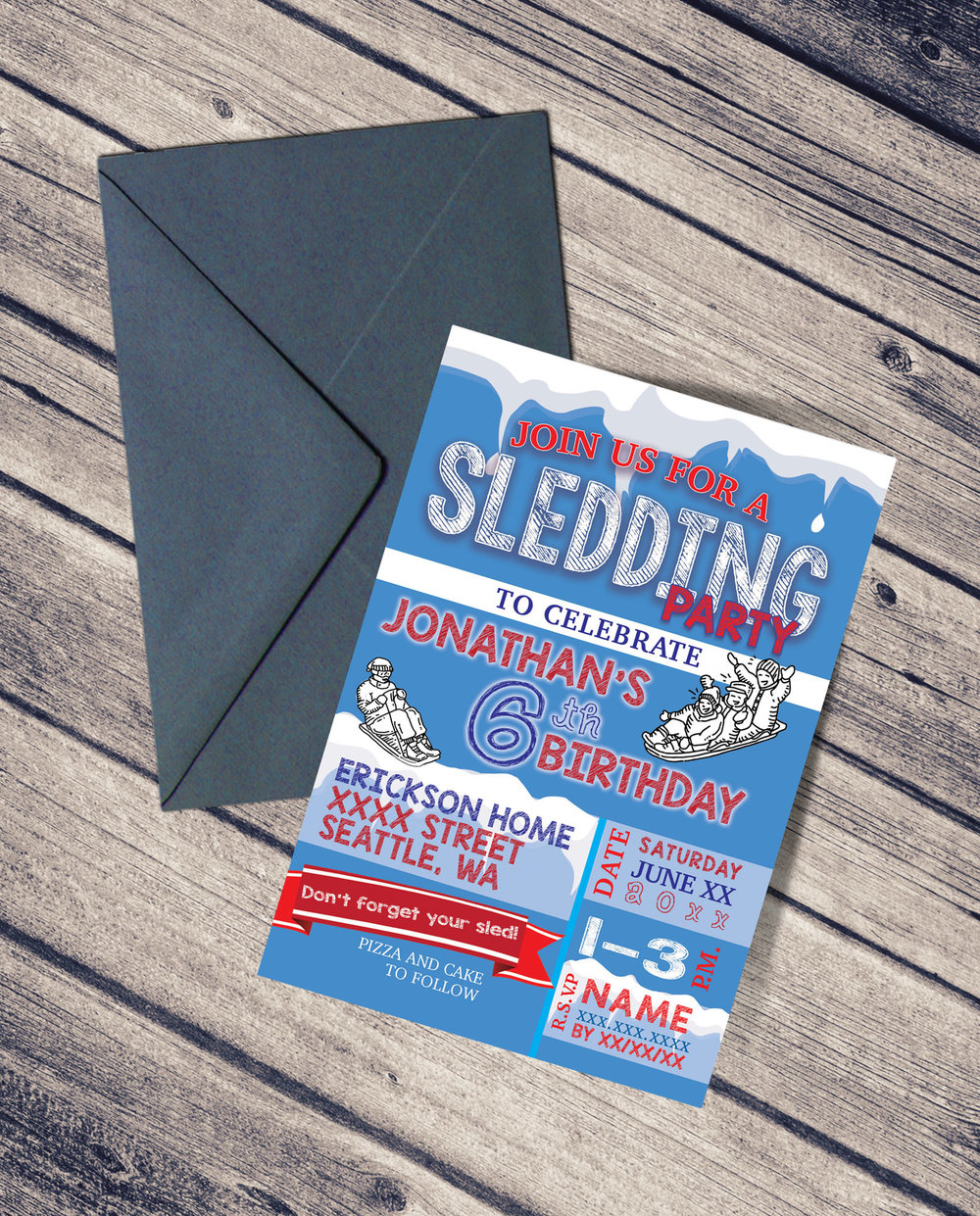 Sledding Birthday Party Invitaiton