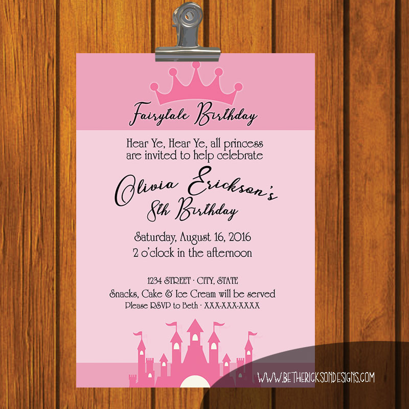 Girl's Fairytale Birthday Invitation
