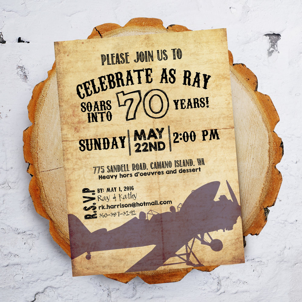 Man's Vintage Airplane Bithday Party Invitation