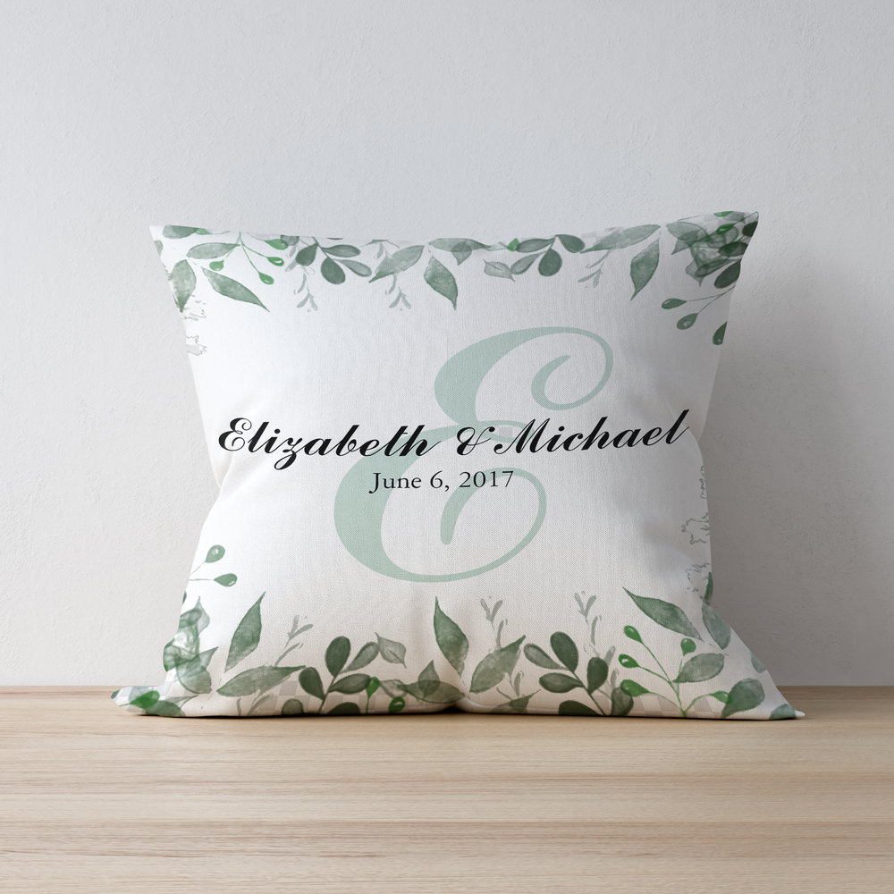 Wedding Date Personalized Greenery Pillow