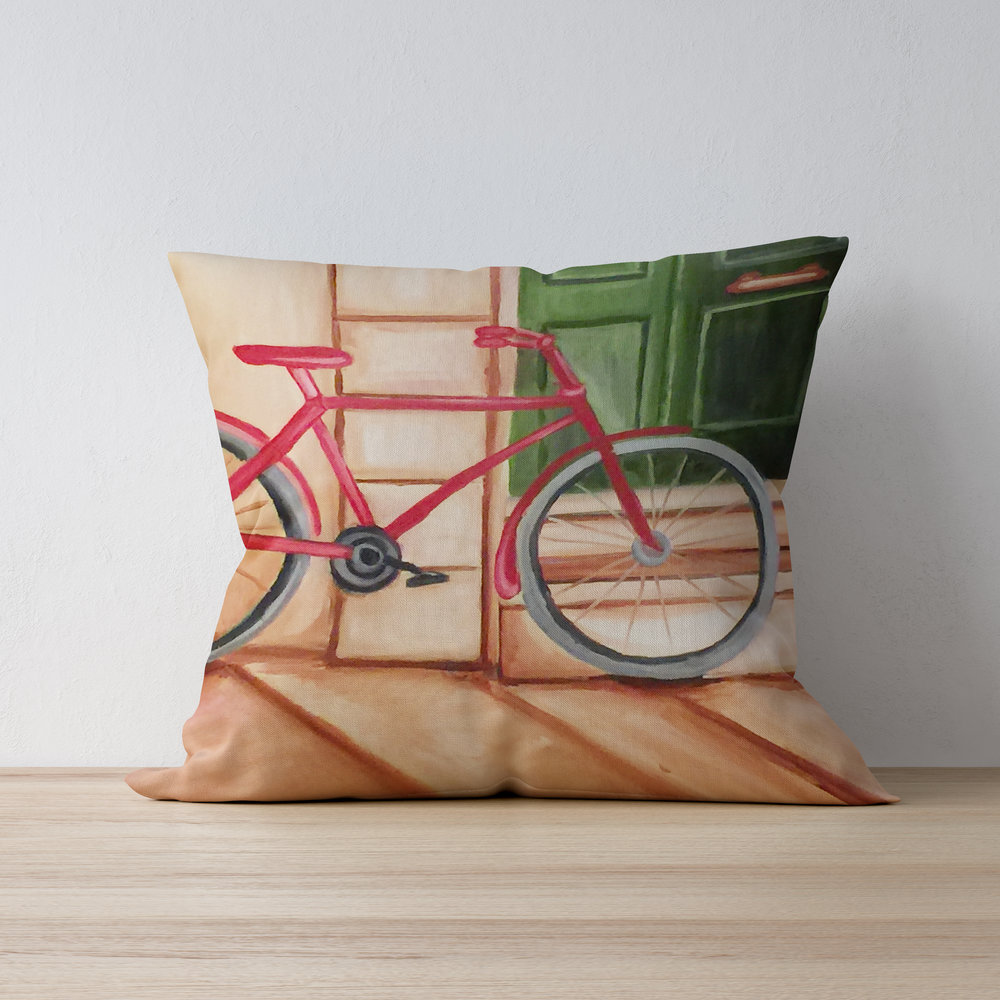 Red Bicycle Painting Throw Pillow