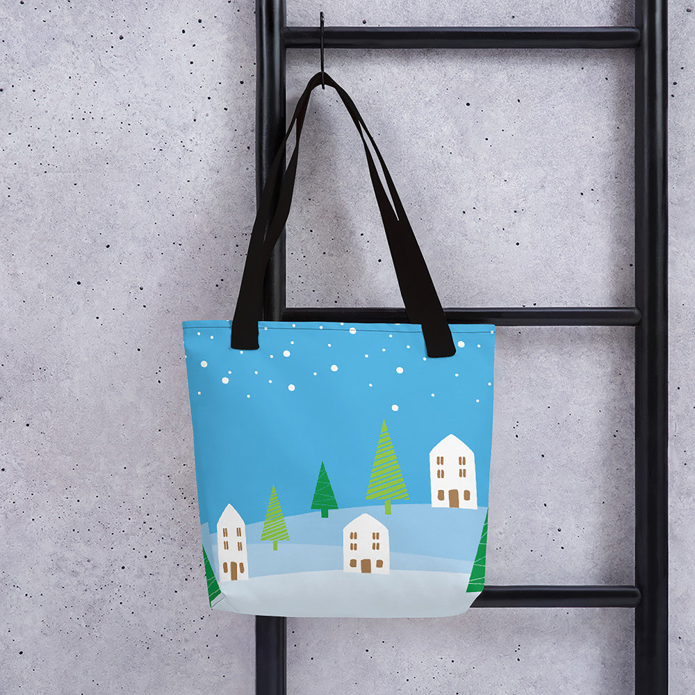 Blue Christmas Village Tote Bag
