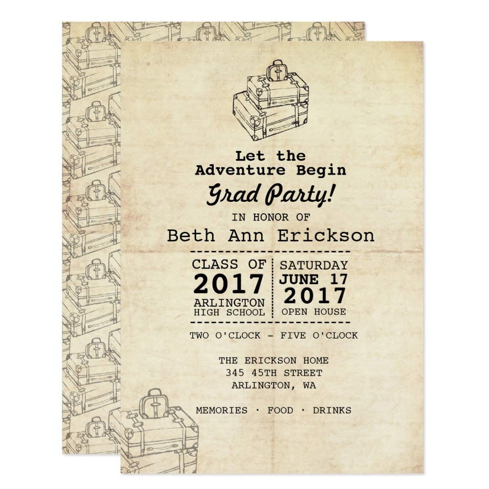 Let The Adventure Begin Grad Party Invitation